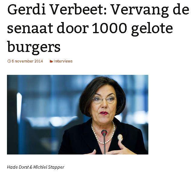 Gerdi Verbeet: Vervang de senaat door 1000 gelote burgers